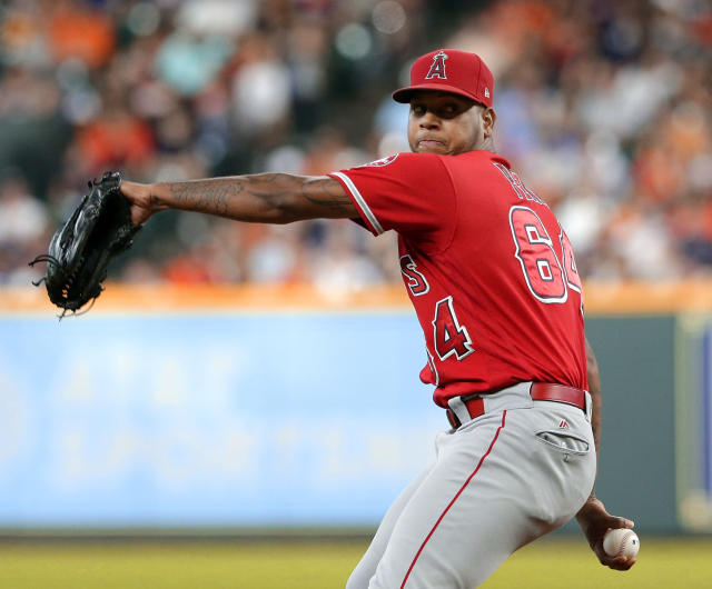 Los Angeles Angels starting pitcher Felix Pena (64) throws against the Houston Astros during the first inning of a baseball game, Saturday, Sep. 1, 2018, in Houston. (AP Photo/Michael Wyke)
