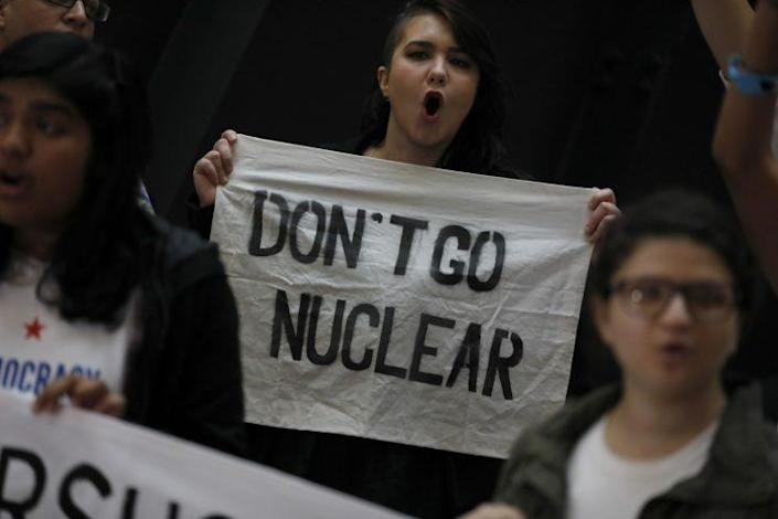 """Protesters against Judge Neil Gorsuch's nomination to the Supreme Court urge Mitch McConnell to avoid the """"nuclear option"""" allowing Gorsuch to be confirmed by 50 votes. (Photo: Aaron P. Bernstein/Getty Images)"""