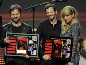 "FILE - In this April 27, 2011 file photo, songwriters Max Martin, from left, and Lukasz ""Dr. Luke"" Gottwalk, pose with singer Kesha after receiving their awards at the 28th Annual ASCAP Pop Music Awards in Los Angeles. Gottwalk, the controversial music producer and hitmaker rose to the top of the Billboard charts with Doja Cat's ubiquitous funk-pop jam ""Say So,"" along with Saweetie's anthemic bop ""Tap In"" and Juice WRLD's Top 5 pop smash ""Wishing Well."" He appeared as Tyson Trax on the Grammy ballot for Doja Cat's ""Say So,"" which he produced and co-wrote. The hit tune is competing for record of the year, where he is contention as the song's producer. (AP Photo/Chris Pizzello, file)"