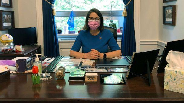 PHOTO: Rep. Suzan DelBene poses in a pink mask ahead of a campaign to encourage the use of masks. (Office of Rep. Suzan DelBene)