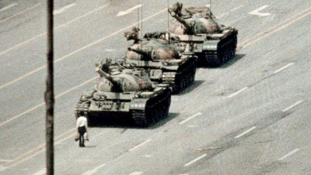 PHOTO: A demonstrator blocks the path of a tank convoy along the Avenue of Eternal Peace near Tiananmen Square in Beijing, June 05, 1989. (Bettmann Archive via Getty Images, FILE)