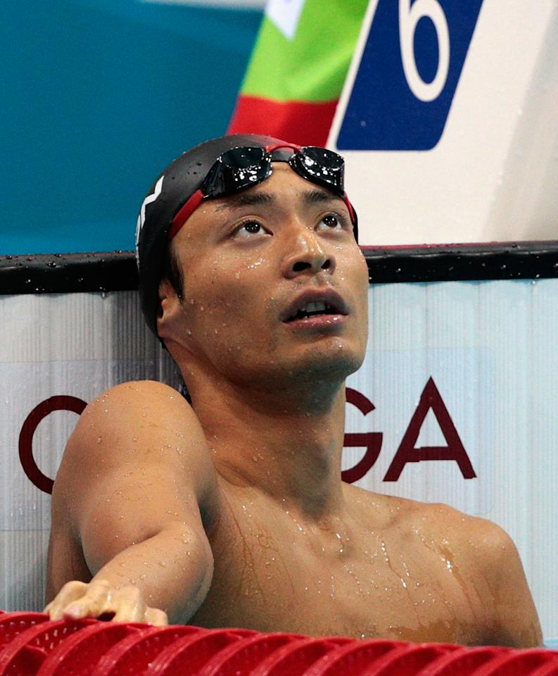 LONDON, ENGLAND - AUGUST 02:  Ryosuke Irie of Japan looks on after winning silver in the Men's 200m Backstroke final on Day 6 of the London 2012 Olympic Games at the Aquatics Centre on August 2, 2012 in London, England.  (Photo by Adam Pretty/Getty Images)