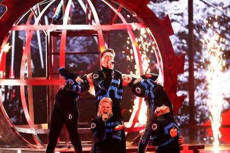 Participants Hatari of Iceland perform during a dress rehearsal ahead of the Grand Final of 2019 Eurovision Song Contest in Tel Aviv, Israel