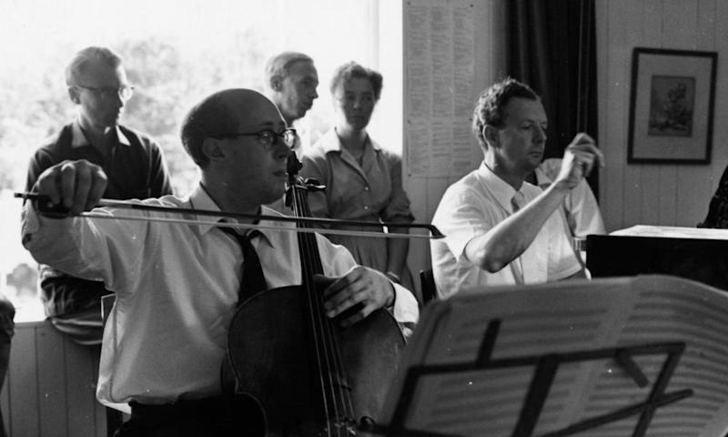 Mstislav Rostropovich and Benjamin Britten rehearsing Britten's Cello Sonata, written for Rostropovich, in the composer's house in Aldeburgh in 1960.