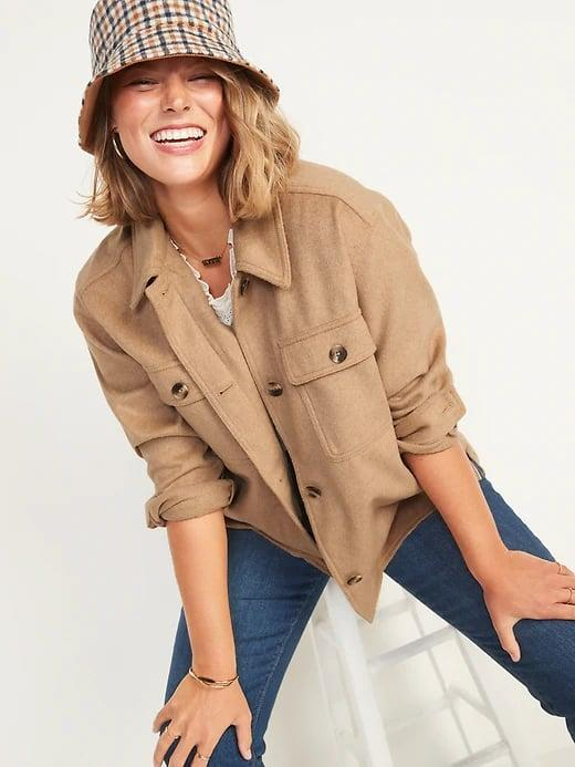 <p>We've definitely found the perfect camel-colored coat for fall in this oversized <span>Old Navy Soft-Brushed Utility Shirt Jacket</span> ($65).</p>