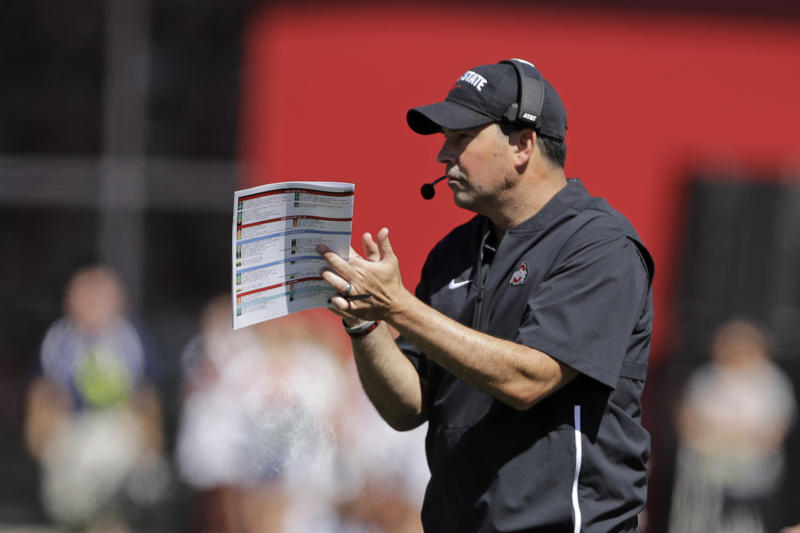 Ohio State head coach Ryan Day reacts after a touchdown during the first half of an NCAA college football game against Indiana, Saturday, Sept. 14, 2019, in Bloomington, Ind. (AP Photo/Darron Cummings)
