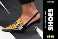 <p><i>The boldest shoes from Milan Fashion Week. (Photo: ImaxTree, Art: Quinn Lemmers for Yahoo Style) </i></p>