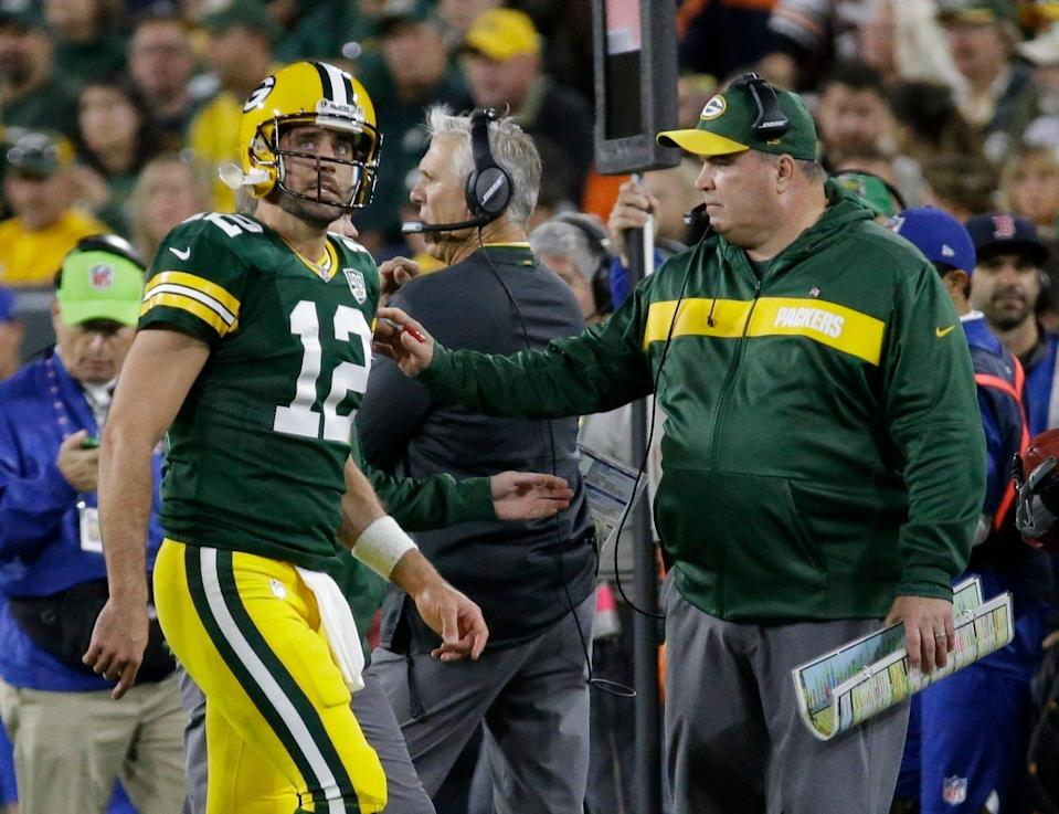 According to a report, the relationship between former Packers head coach Mike McCarthy and Aaron Rodgers got worse over the years. (AP)