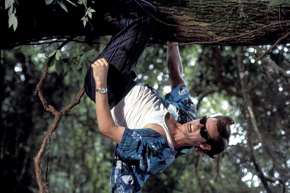 ace ventura hanging from a tree upside down