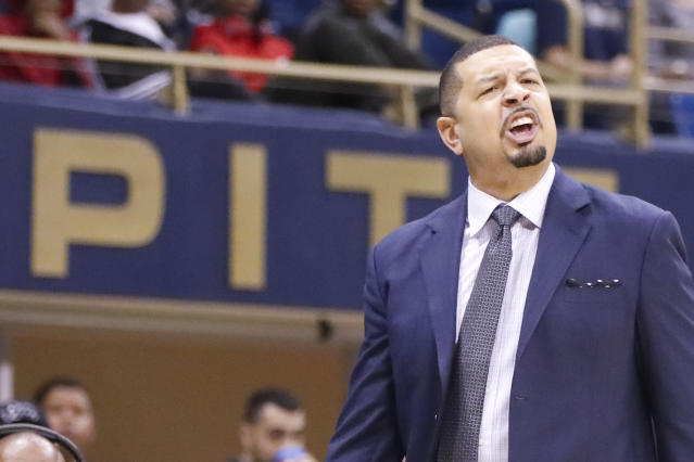Pittsburgh head coach Jeff Capel yells to his team as they play against Maryland Eastern Shore during the second half of an NCAA college basketball game, Saturday, Dec. 15, 2018, in Pittsburgh. Pittsburgh won 78-43. (AP Photo/Keith Srakocic)