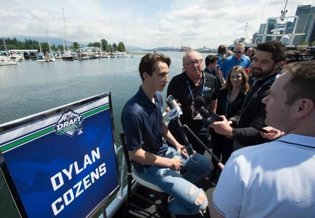 Cozens is seen during a top prospects media availability in Vancouver in 2019. Cozens was a first-round draft pick for the Sabres.