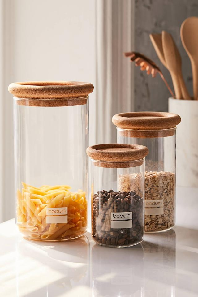 """<p>Clean up your pantry with this <a href=""""https://www.popsugar.com/buy/BODUM-Glass-Cork-Storage-Jar-438494?p_name=BODUM%20Glass%20%2B%20Cork%20Storage%20Jar&retailer=urbanoutfitters.com&pid=438494&price=23&evar1=casa%3Aus&evar9=47184923&evar98=https%3A%2F%2Fwww.popsugar.com%2Fhome%2Fphoto-gallery%2F47184923%2Fimage%2F47185100%2FBODUM-Glass-Cork-Storage-Jar&list1=shopping%2Ccleaning%2Corganization%2Cspring%20cleaning%2Chome%20organization%2Chome%20shopping&prop13=api&pdata=1"""" rel=""""nofollow"""" data-shoppable-link=""""1"""" target=""""_blank"""" class=""""ga-track"""" data-ga-category=""""Related"""" data-ga-label=""""https://www.urbanoutfitters.com/shop/bodum-glass-cork-storage-jar?category=SEARCHRESULTS&amp;color=020"""" data-ga-action=""""In-Line Links"""">BODUM Glass + Cork Storage Jar</a> ($23).</p>"""