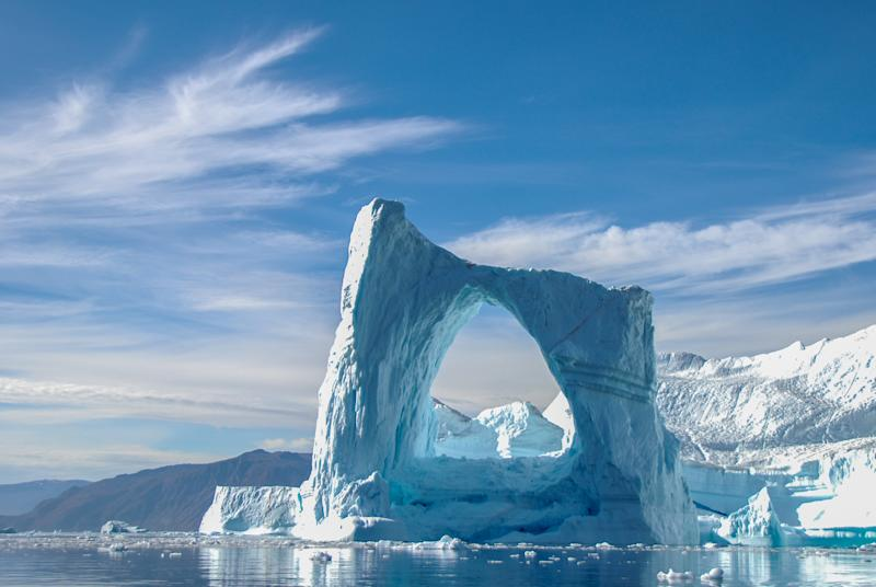 A beautiful arch iceberg in Greenland.