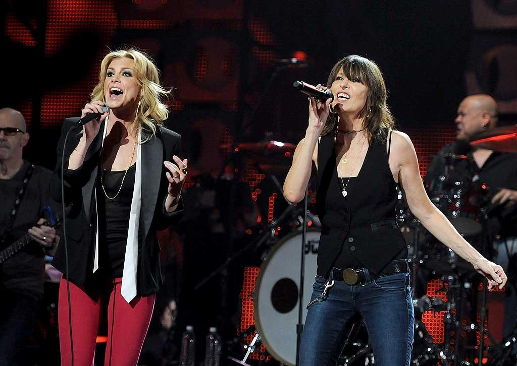 "Faith Hill teamed up with Chrissie Hynde of the Pretenders for a ""CMT Crossroads"" concert telecast live from the Pepsi Super Bowl Fan Jam in Dallas. While Hill admitted prior to the show that she's a huge Pretenders fan, Hynde admitted she's not into football at all. ""I'm sure [the Super Bowl] is a big deal if you're a football fan, but I'm not,"" she explained. ""If I'm watching sports, I might watch snooker or darts."" Rick Diamond/<a href=""http://www.gettyimages.com/"" target=""new"">GettyImages.com</a> - February 5, 2011"