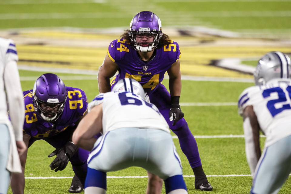 FILE - In this Sunday, Nov. 22, 2020 file photo, Minnesota Vikings middle linebacker Eric Kendricks (54) readies for the play in the second quarter during an NFL football game against the Dallas Cowboys in Minneapolis. Eric Kendricks and the Minnesota Vikings have had a rough year between the lines, but the 2019 All-Pro linebacker, whose 2020 season has been shortened by a calf injury, has made quite an impact off the field. He's the team's nominee for the Walter Payton Man of the Year award, for his community work focused on criminal justice reform. (AP Photo/David Berding, File)