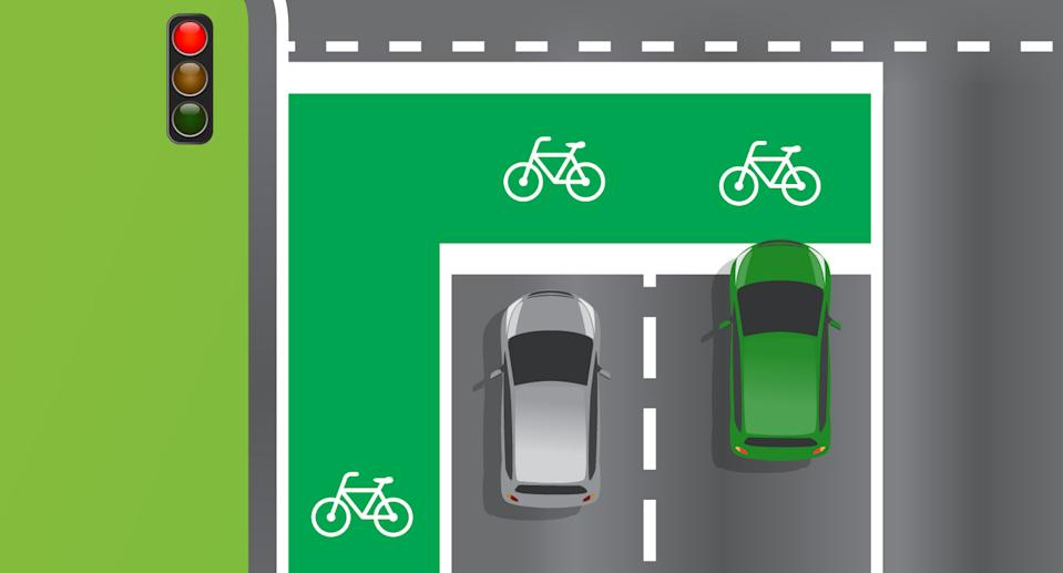 A graphic shows two cars next to a cycling lane.