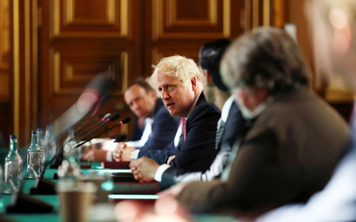 Prime Minister Boris Johnson chairs a face-to-face meeting of his cabinet team of ministers, the first since mid-March - Simon Dawson - WPA Pool/Getty Images