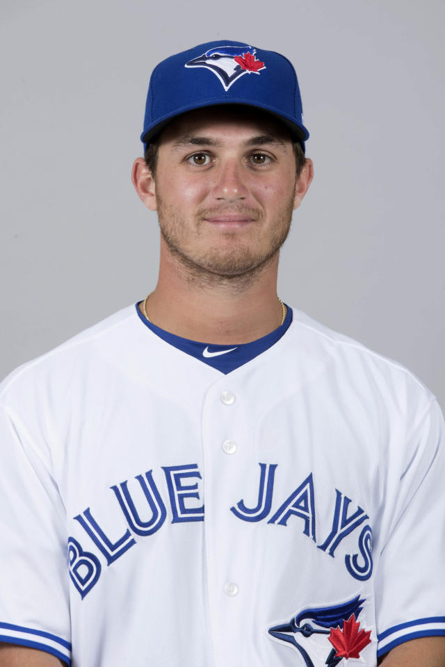 File-This is 2018, file photo shows Thomas Pannone of the Toronto Blue Jays baseball team. Pannone has been suspended for 80 games under Major League Baseball's drug program following a positive test for a performance-enhancing substance. The 23-year-old left-hander tested positive for Dehydrochlormethyltestosterone (DHCMT), the commissioner's office said Friday. DHCMT also is known as Turinabol, a drug used by East German athletes in the 1960s. Chris Colabello, then with the Blue Jays, tested positive for the same substance in 2016. (AP Photo/John Minchillo, File)