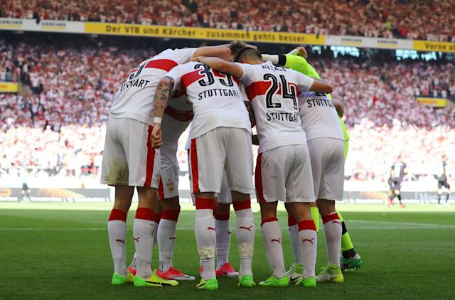 Football Soccer - VfB Stuttgart v Wurzburger Kickers - 2. Bundesliga - Mercedes-Benz Arena, Stuttgart, Germany - 21/5/17 VfB Stuttgart's Simon Terodde celebrates scoring their second goal with team mates Reuters / Kai Pfaffenbach Livepic DFL RULES TO LIMIT THE ONLINE USAGE DURING MATCH TIME TO 15 PICTURES PER GAME. IMAGE SEQUENCES TO SIMULATE VIDEO IS NOT ALLOWED AT ANY TIME. FOR FURTHER QUERIES PLEASE CONTACT DFL DIRECTLY AT + 49 69 650050.