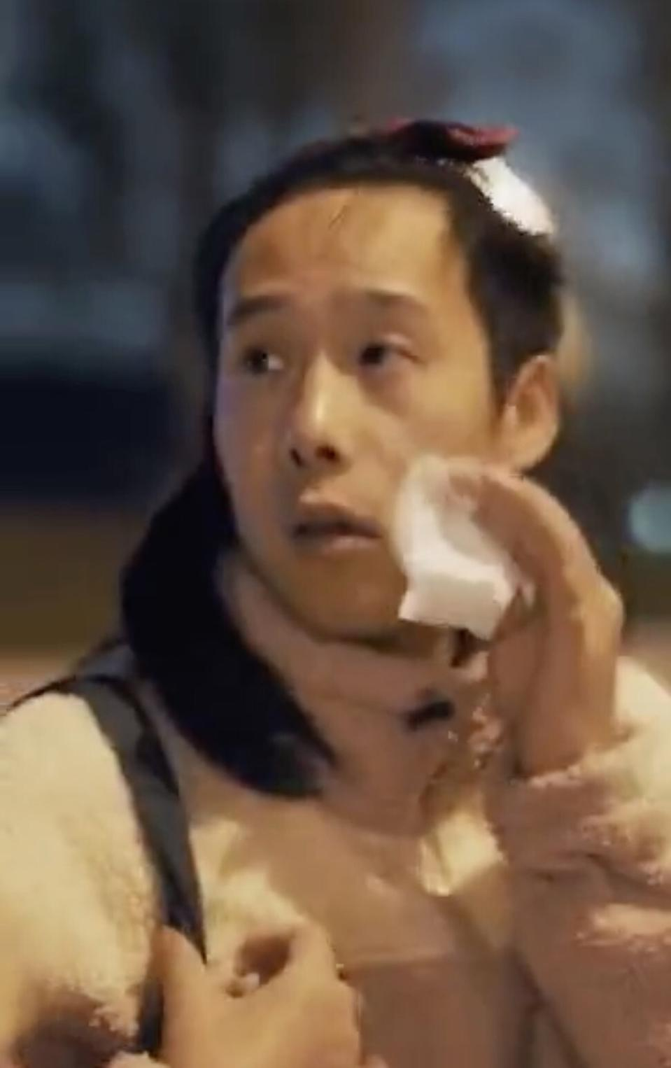 A still from the video shows the woman having removed her make-up. The premise of the Purcotton ad was strongly attacked online in China.