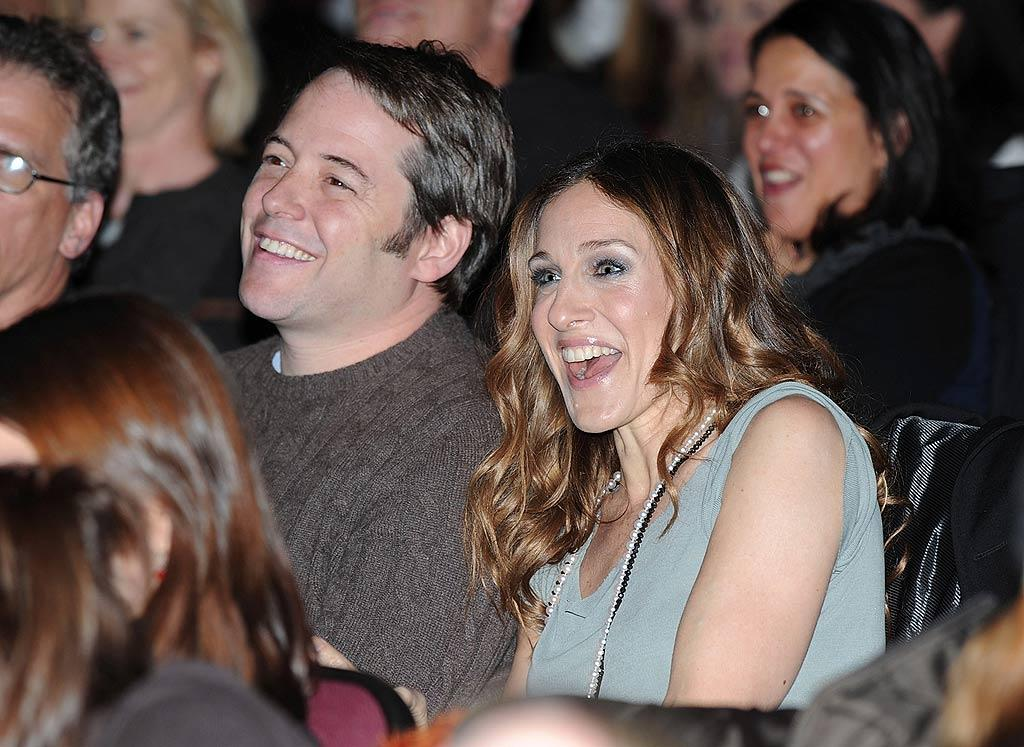 "Sarah must be good! The couple is clearly enjoying her performance. George Pimentel/<a href=""http://www.wireimage.com"" target=""new"">WireImage.com</a> - January 20, 2008"