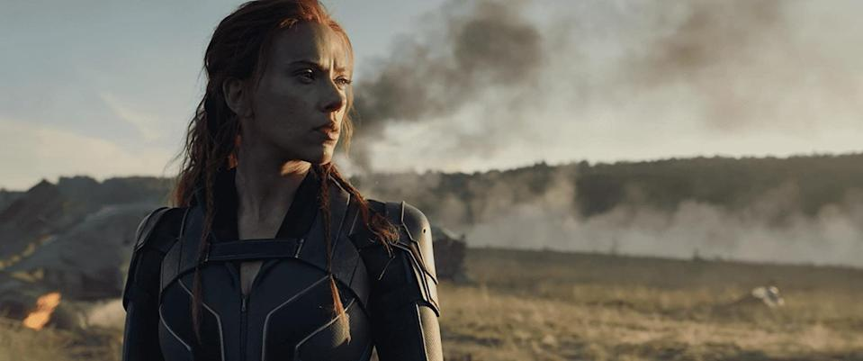 Scarlett Johansson standing stoically as Black Widow (Image by Marvel)