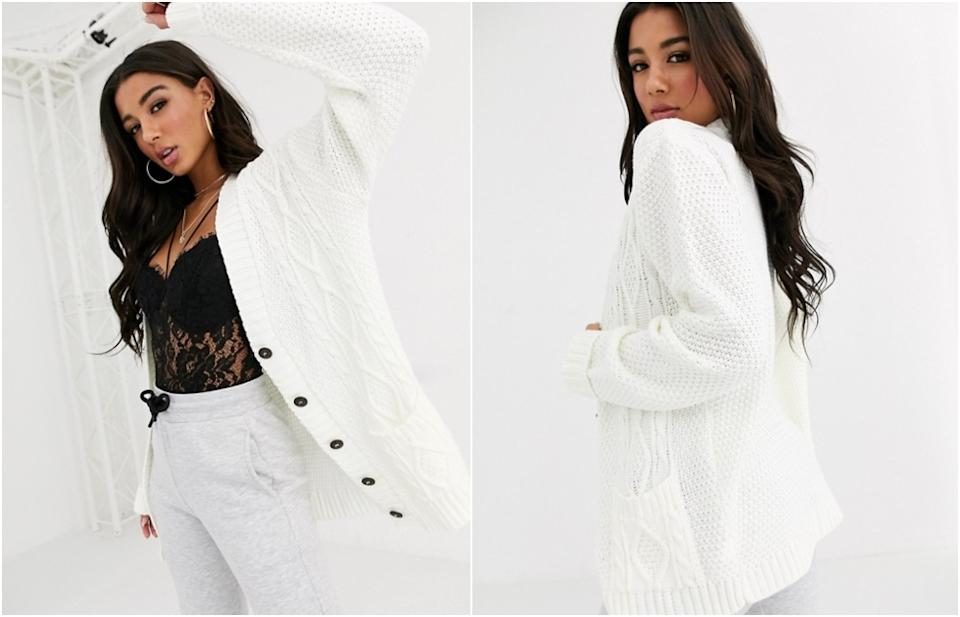 Boohoo oversized cable knit cardigan in cream