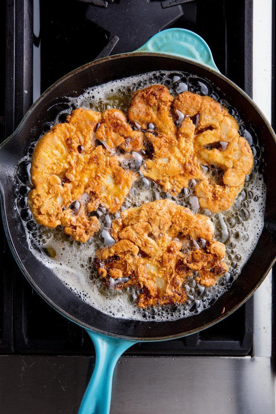 "<p>Don't worry, there's no chicken involved <a href=""https://www.delish.com/cooking/recipes/a47717/chicken-fried-cauliflower-recipe/"" rel=""nofollow noopener"" target=""_blank"" data-ylk=""slk:here"" class=""link rapid-noclick-resp"">here</a>.</p><p>Get the recipe from Delish.</p>"