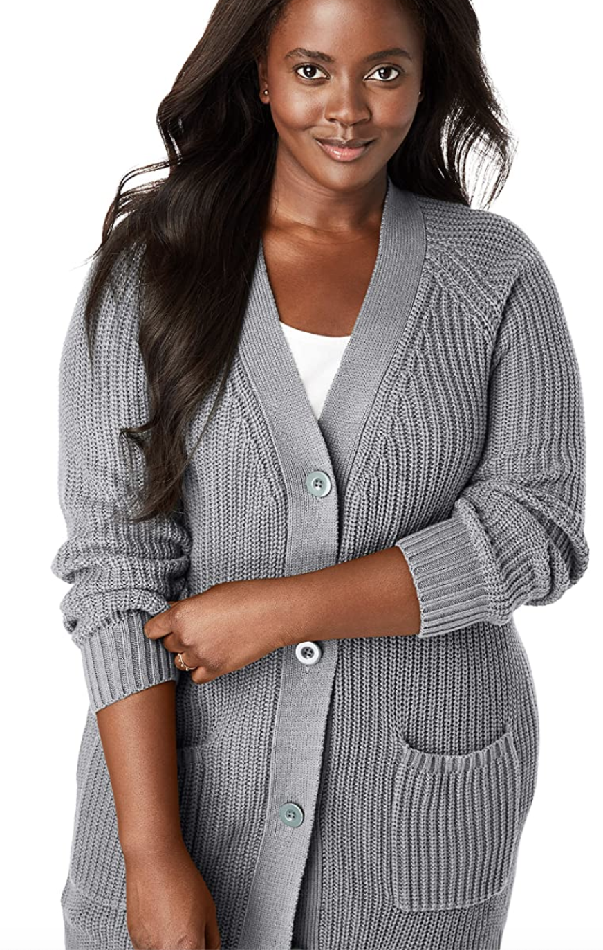 """What is fall without a cardigan? Nothing, that's right. One reviewer, who <a href=""""https://amzn.to/3cpensp"""" rel=""""nofollow noopener"""" target=""""_blank"""" data-ylk=""""slk:claims"""" class=""""link rapid-noclick-resp"""">claims</a> this is her go-sweater, says """"it does not pill, it's comfortable, and the material is soft."""" Sold. $38, Amazon. <a href=""""https://www.amazon.com/Woman-Within-Button-Front-Shaker-Cardigan/dp/B073T9RFKL/ref=sr_1_7?"""" rel=""""nofollow noopener"""" target=""""_blank"""" data-ylk=""""slk:Get it now!"""" class=""""link rapid-noclick-resp"""">Get it now!</a>"""