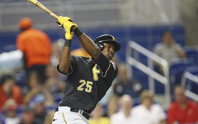 Pittsburgh Pirates' Gregory Polanco singles during the first inning of a baseball game against the Miami Marlins in Miami, Friday, June 13, 2014. (AP Photo/J Pat Carter)