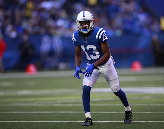 Not surprisingly, T.Y. Hilton's numbers took a huge nosedive without Luck. (Jeff Haynes/AP Images for Panini)