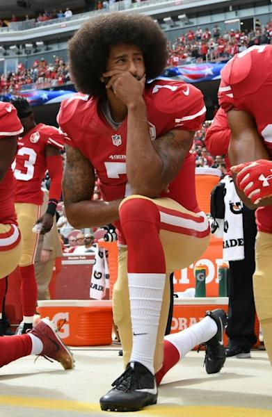Colin Kaepernick former quarterback for the San Francisco 49ers, in 2016 began kneeling during the playing of the National Anthem and was blacklisted from the league for his activism