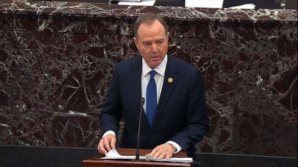 PHOTO: Lead House impeachment manager Rep. Adam Schiff delivers his closing argument in the impeachment trial of President Donald Trump, Feb. 3, 2020, at the Capitol. (ABC News)