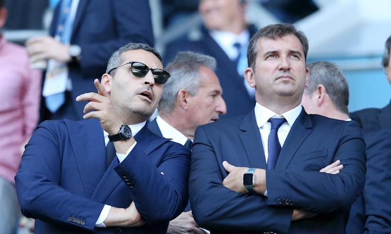 Manchester City chief executive Ferran Soriano, right, with chairman Khaldoon Al Mubarak.
