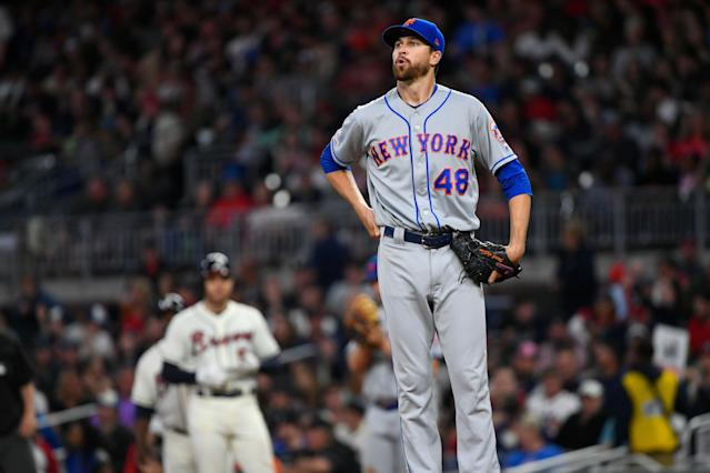 New York Mets starter Jacob deGrom was feeling better on Saturday morning about his elbow. (AP Photo)