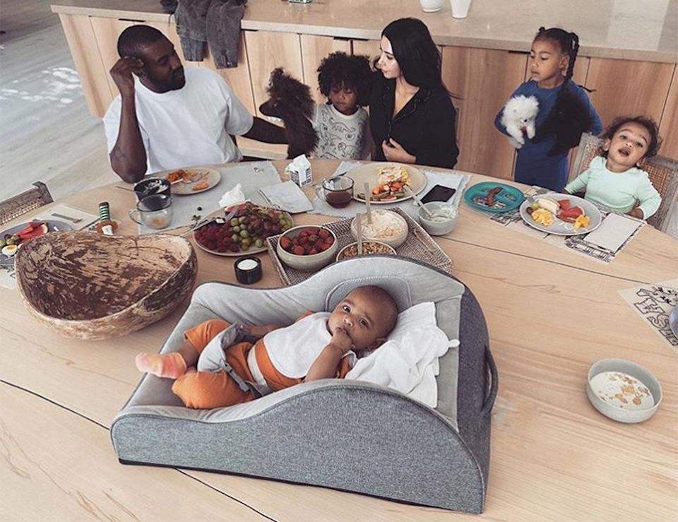 """The entire Kardashian-West family sat down for a big <a href=""""https://www.instagram.com/p/B7oHS0MgyNe/?igshid=16wcayl7y4uit"""" rel=""""nofollow noopener"""" target=""""_blank"""" data-ylk=""""slk:breakfast together"""" class=""""link rapid-noclick-resp"""">breakfast together</a>. """"Morning Madness,"""" wrote <a href=""""http://people.com/tag/kim-kardashian"""" rel=""""nofollow noopener"""" target=""""_blank"""" data-ylk=""""slk:Kardashian West"""" class=""""link rapid-noclick-resp"""">Kardashian West</a>."""
