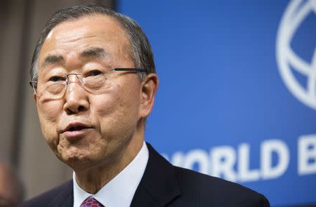 United Nations Secretary-General Ban Ki-moon speaks to the media after the UN Chief Executive Board's private session on the Ebola response in Washington November 21, 2014. REUTERS/Joshua Roberts