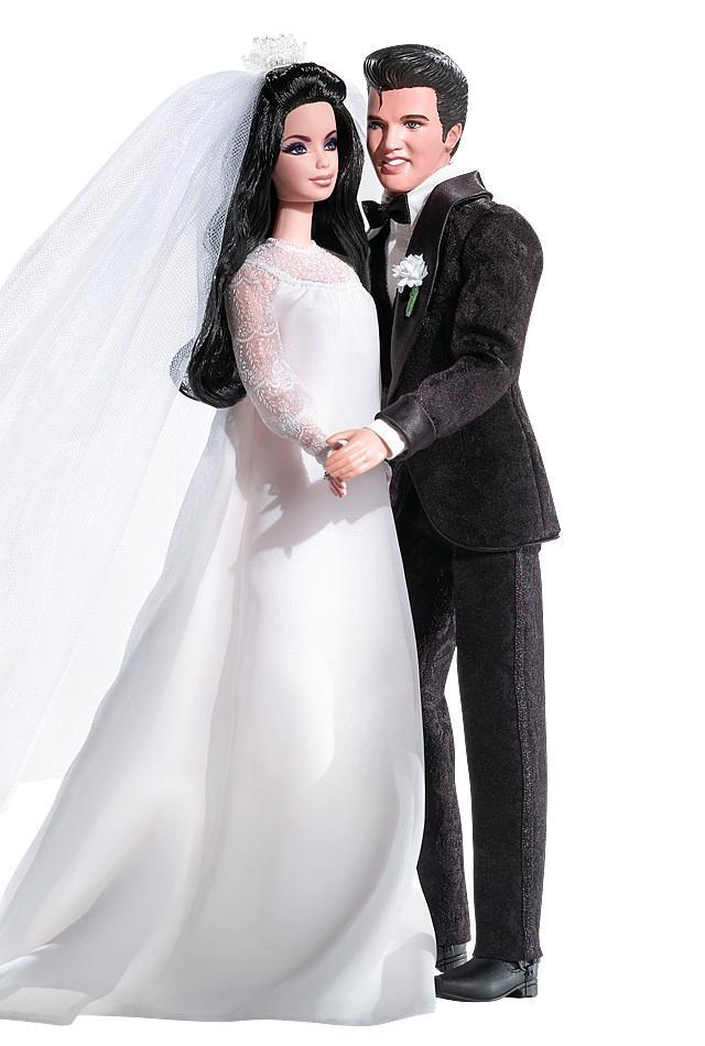 "<div class=""caption-credit""> Photo by: barbiecollector.com</div><b>Elvis and Priscilla Presley dolls set, released in 2008 for $65</b> <br> This duo commemorates the King's Las Vegas wedding to Priscilla Beaulieu in 1967, complete with paisley print tuxedo."