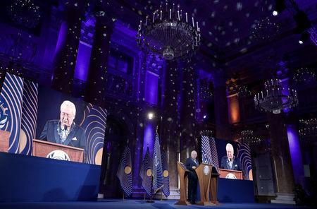 Asgardia's Head of Nation Igor Ashurbeyli speaks during the inauguration ceremony of Asgardia's first Head of Nation in Vienna, Austria June 25, 2018. REUTERS/Lisi Niesner