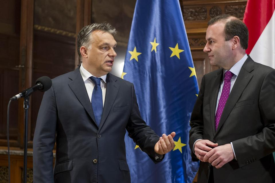 Manfred Weber (right) with Hungarian Prime Minister Viktor Orban (Getty)