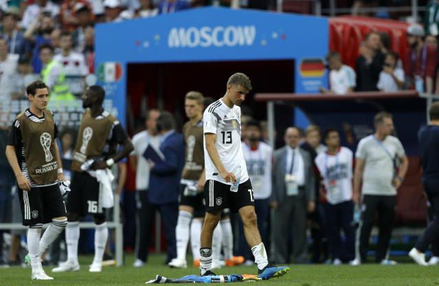 Germany's Thomas Mueller walks off the pitch at the end of the group F match between Germany and Mexico at the 2018 soccer World Cup in the Luzhniki Stadium in Moscow, Russia, Sunday, June 17, 2018. Mexico won 1-0. (AP Photo/Victor R. Caivano)