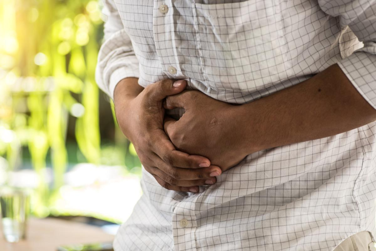 """If your stomach seems to be persistently protruding out of virtually nowhere, it's time to talk to your doctor. According to Bilchik, abdominal bloating is a <a href=""""https://bestlifeonline.com/health-over-40/?utm_source=yahoo-news&utm_medium=feed&utm_campaign=yahoo-feed"""" target=""""_blank"""">common symptom</a> of pancreatic cancer, and can also be associated with cancers of the uterus, colon, liver, and stomach."""