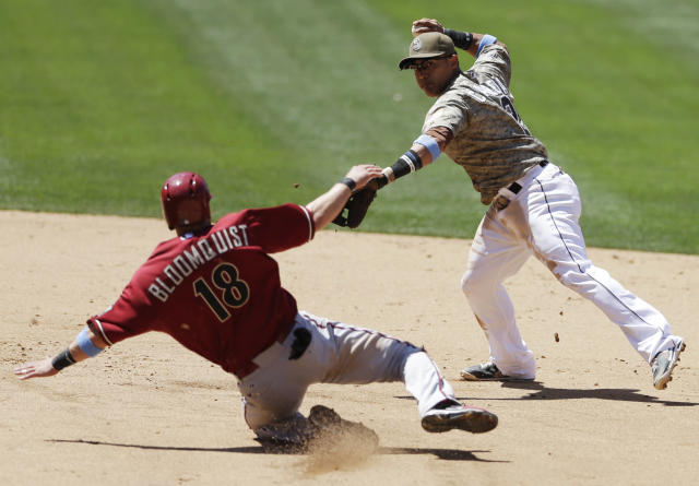 San Diego Padres shortstop Everth Cabrera, right, throws to first to complete a double play as Arizona Diamondbacks' Willie Bloomquist slides in late to second during the fourth inning in a baseball game Sunday, June 16, 2013, in San Diego. (AP Photo/Gregory Bull)