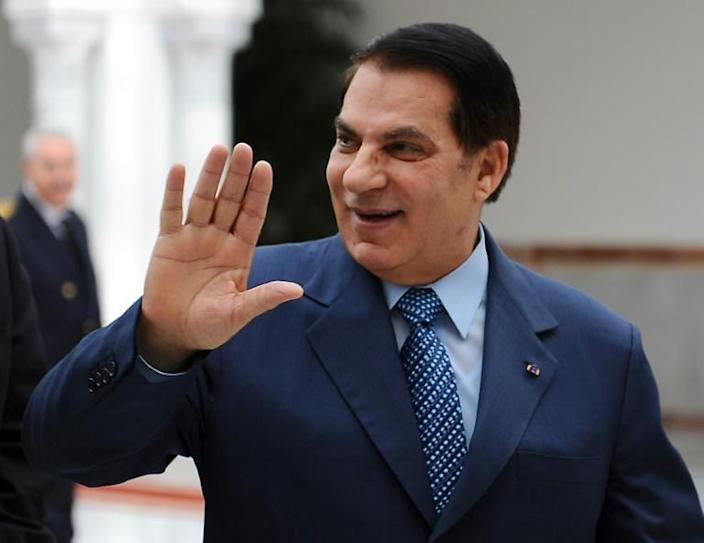Tunisian ex-president Zine El Abidine Ben Ali at Tunis-Carthage airport in December 2010, less than a month before being forced from power (AFP Photo/FETHI BELAID)
