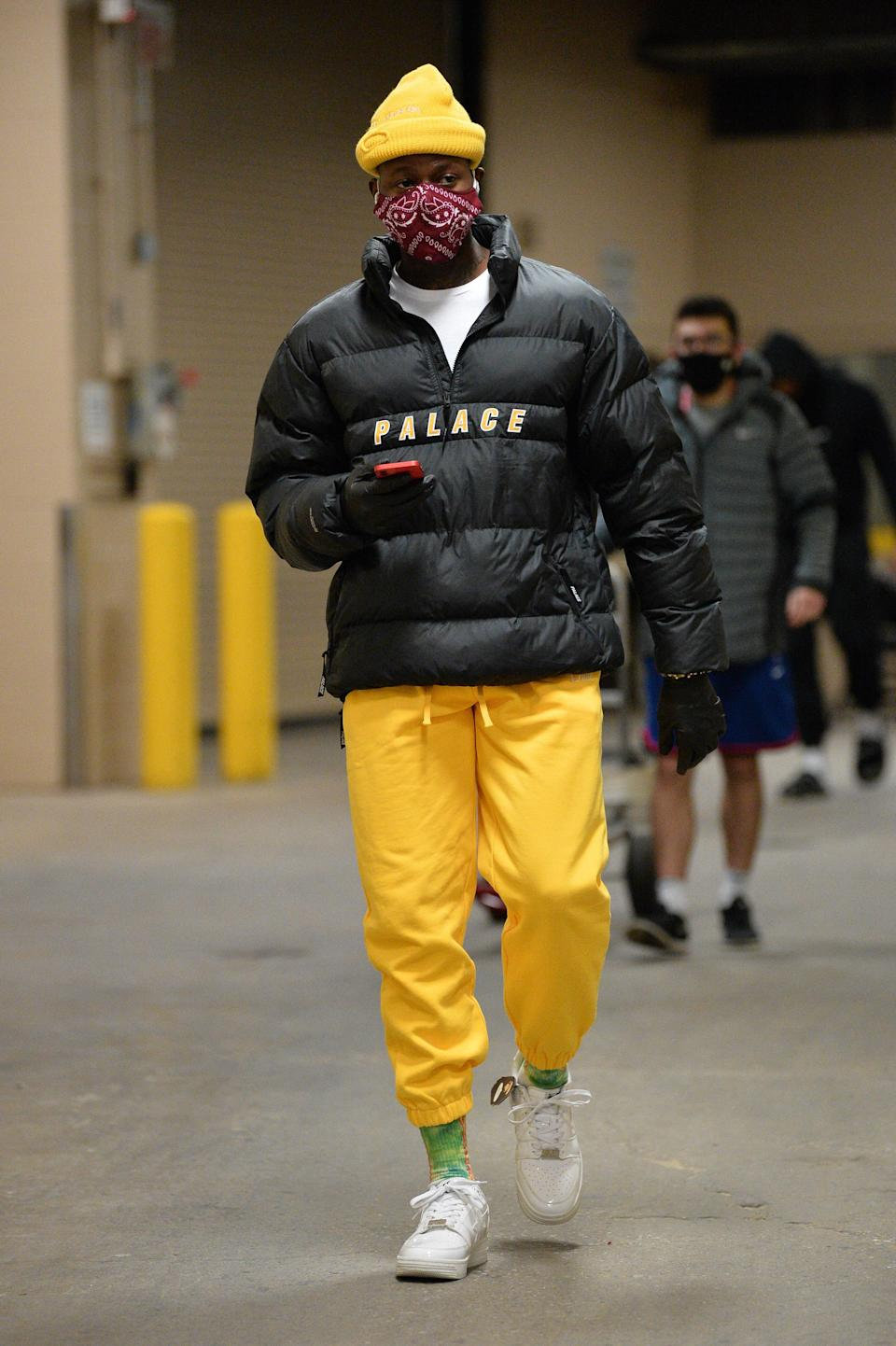 Terry Rozier of the Charlotte Hornets arrives to a game against the Philadelphia 76ers in Philadelphia, January 2, 2021.