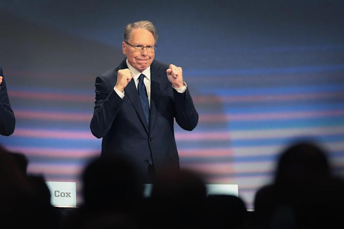 <p>Wayne LaPierre, NRA vice president and CEO attends the NRA annual meeting of members at the 148th NRA Annual Meetings & Exhibits on April 27, 2019 in Indianapolis, Indiana.</p> (Photo by Scott Olson/Getty Images)