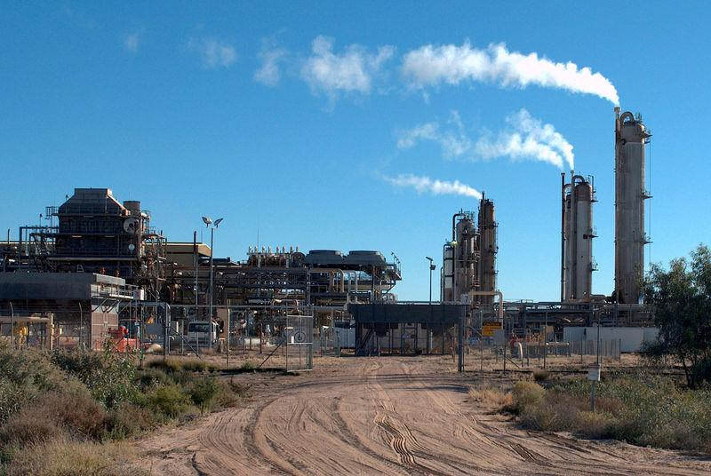 FILE PHOTO: The Santos-operated Moomba gas plant is seen outside Moomba