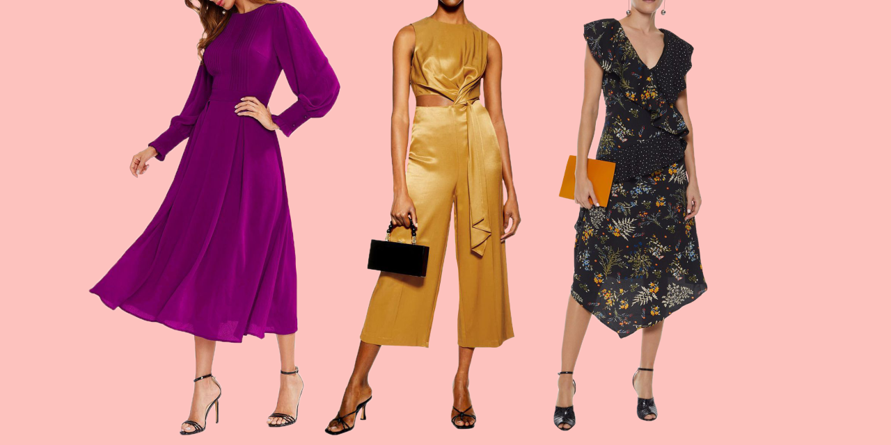 """<p>Fall <a href=""""https://www.goodhousekeeping.com/beauty/fashion/g27508873/what-to-wear-to-a-wedding/"""" target=""""_blank"""">wedding season</a> is just around the corner. And while autumn is arguably one of the most beautiful times to get <a href=""""https://www.goodhousekeeping.com/weddings/"""" target=""""_blank"""">married</a>, when you're a guest, it can be hard to pick <a href=""""https://www.goodhousekeeping.com/beauty/fashion/g27508873/what-to-wear-to-a-wedding/"""" target=""""_blank"""">the perfect dress for the occasion</a>. The daytime might be warm, but once it's nighttime, a chill could hit. But don't spend weeks stressing over what to wear for the special day. We found a mix of beautiful fall wedding guest dresses and jumpsuits that will work no matter what. Some of the options below have sleeves, while others don't, but can easily be paired with a sweater or light jacket to complete your look (and keep you warm!). The best part just might be that there are affordable options for any style you're going for — we're talking florals, bold colors, and lots of fun prints. </p>"""