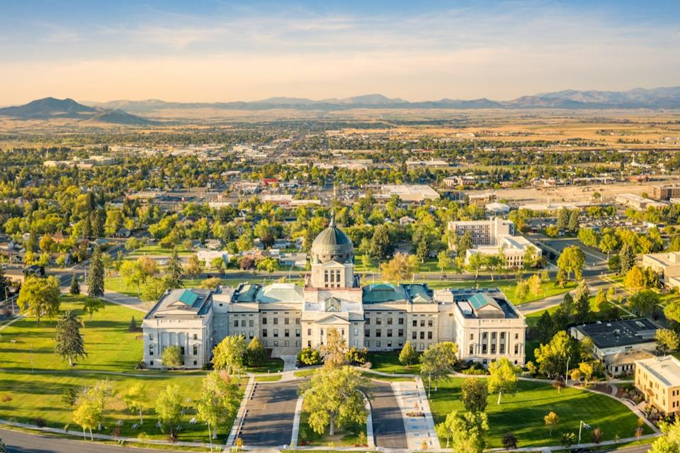 photo take by a drone of the Montana State Capitol in Helena, Montana