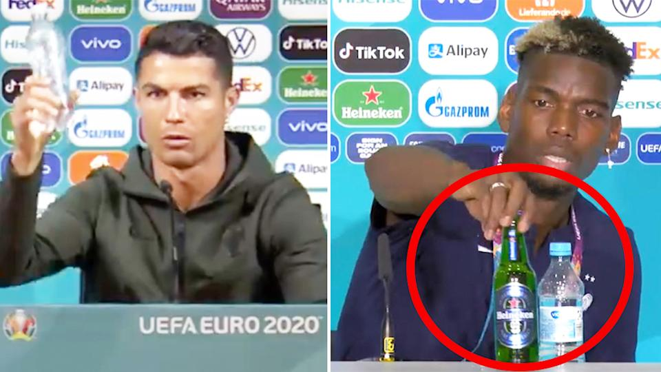 Paul Pogba (pictured right) followed Cristiano Ronaldo's (pictured left) actions and removed a bottle from the table in front of him during a press conference. (Images: Twitter)